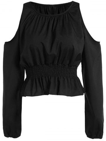 Affordable Cold Shoulder Elastic Waist Blouse