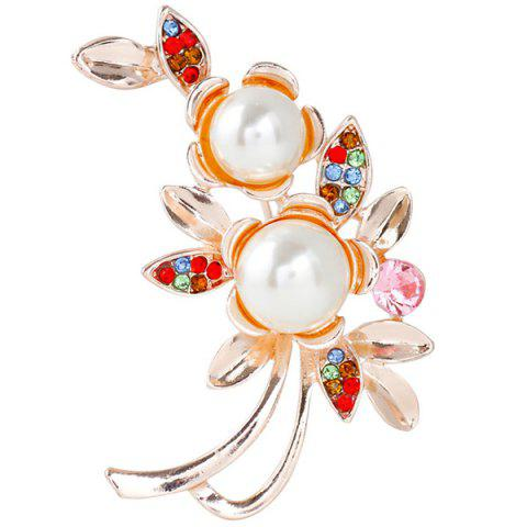 Unique Flower Faux Pearl Rhinestone Brooch - GOLDEN  Mobile