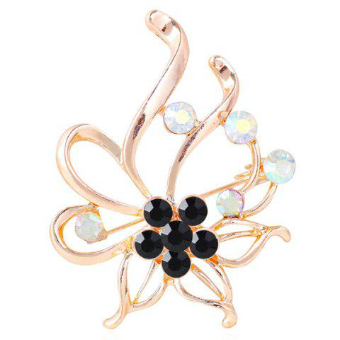 Best Rhinestone Hollow Out Floral Brooch