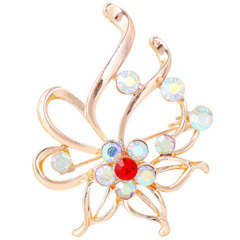 Broche Floral Out creux strass Rouge