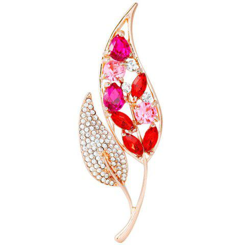 Strass Feuille Faux Broche Gem Rouge