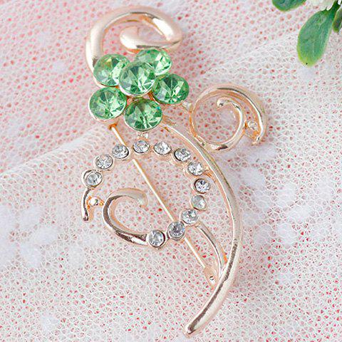 Unique Rhinestone Faux Gem Hollow Out Brooch - GREEN  Mobile