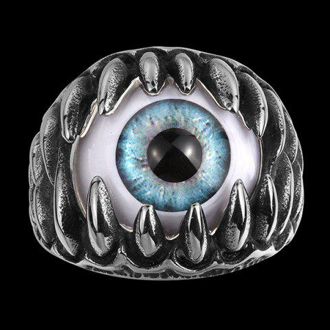 Hot Tooth Eye Punk Alloy Ring - 8 SILVER Mobile