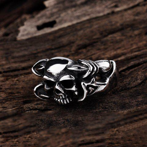 Unique Alloy Devil Skull Biker Ring - 8 SILVER Mobile