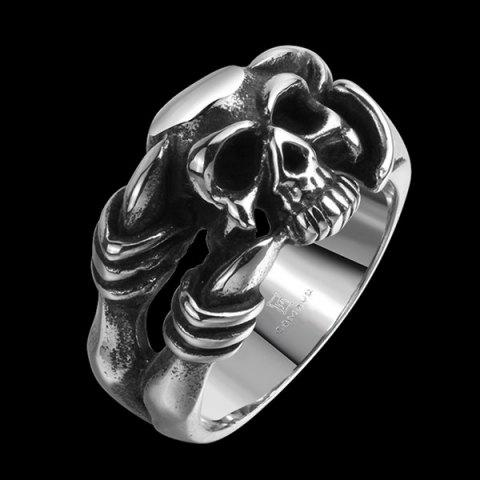 Store Alloy Devil Skull Biker Ring - 8 SILVER Mobile