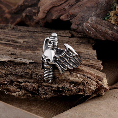 Store Engraved Wings Skull Alloy Ring - 11 SILVER Mobile