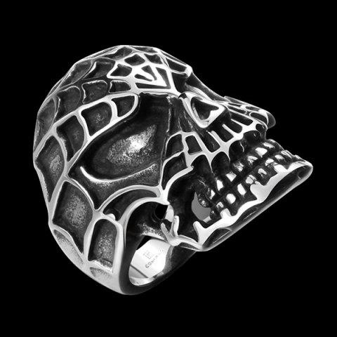 Discount Skull Engraved Stainless Steel Ring - 11 SILVER Mobile