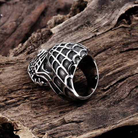 Outfits Skull Engraved Stainless Steel Ring - 11 SILVER Mobile