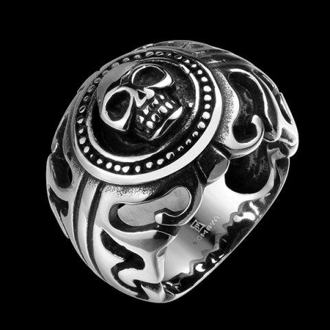 Unique Gothic Stainless Steel Skull Biker Ring - 10 SILVER Mobile