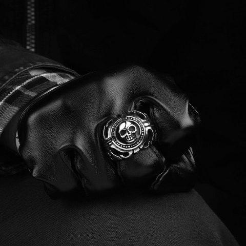 Outfits Gothic Stainless Steel Skull Biker Ring - 10 SILVER Mobile