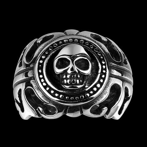 Unique Gothic Stainless Steel Skull Biker Ring - 8 SILVER Mobile