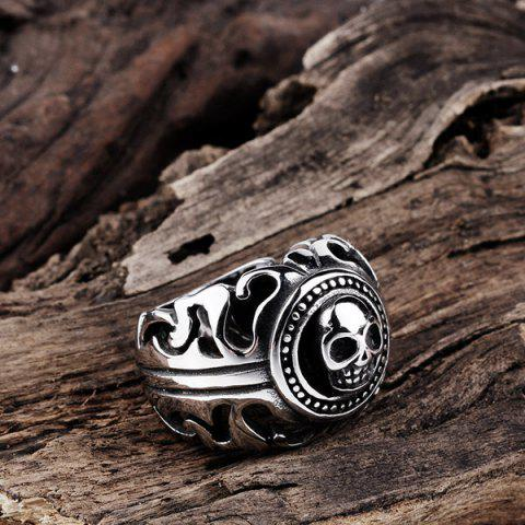Outfits Gothic Stainless Steel Skull Biker Ring - 8 SILVER Mobile