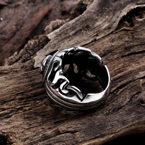 Outfits Gothic Stainless Steel Skull Biker Ring - 9 SILVER Mobile