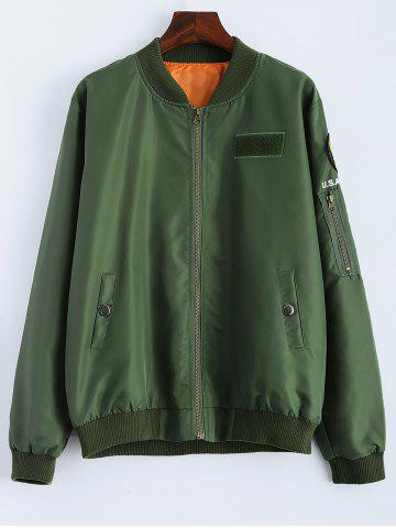 Affordable Zipper Embellished Bomber Jacket ARMY GREEN XL
