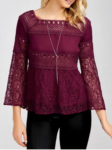 Shops Openwork Square Collar Flare Sleeve Lace Blouse WINE RED XL