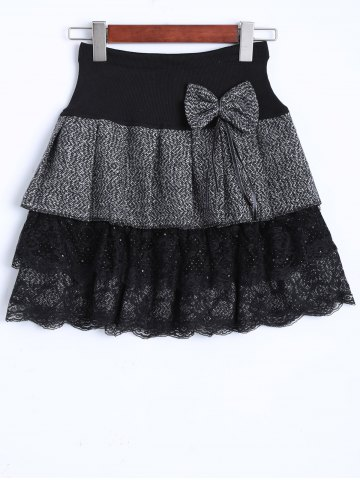 Shop Vintage Bowknot Lace Insert Tiered Mini Skirt