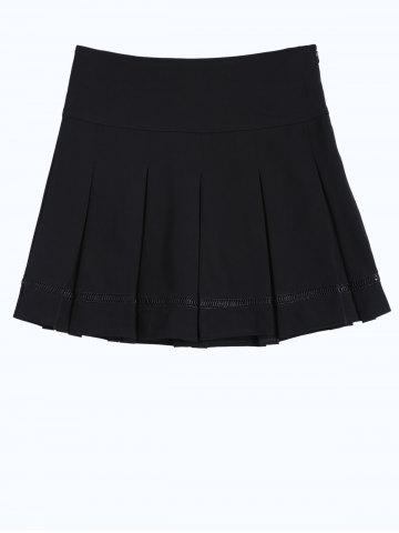 Fancy Hollow Out Insert Pleated Skirt