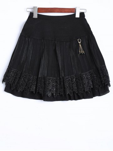 Outfits Key Chain Openwork Lace Mini Skirt