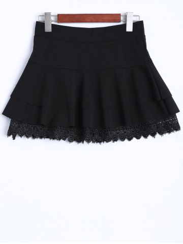Unique Concise Lace Insert Tiered Mini Skirt