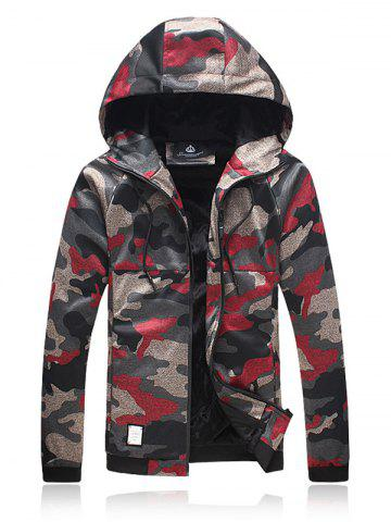 Buy Plus Size Hooded Camouflage Zip Up Jacket RED 5XL