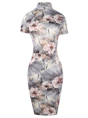 Online Knee Length Print Qipao Bodycon Dress LIGHT GRAY M