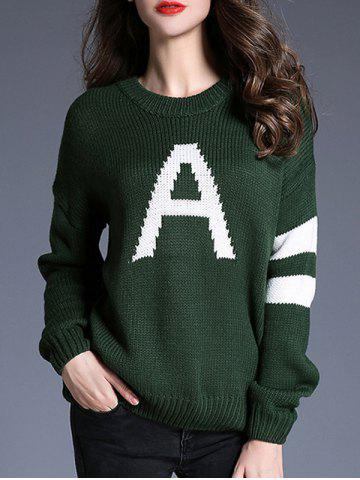 Affordable Striped and A Pattern Knit Loose Sweater BLACKISH GREEN