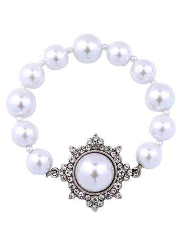Outfit Vintage Artificial Pearl Beaded Bracelet SILVER