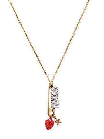 Latest Rhinestone Star Strawberry Sweater Chain - GOLDEN  Mobile