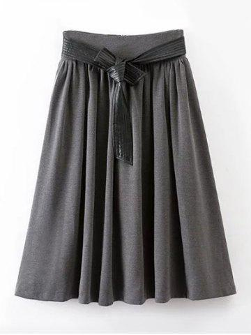Outfit Vintage High Waist Midi Pleated Skirt With Belt