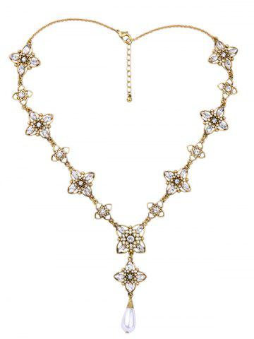 Affordable Rhinestone Artificial Pearl Flower Necklace GOLDEN