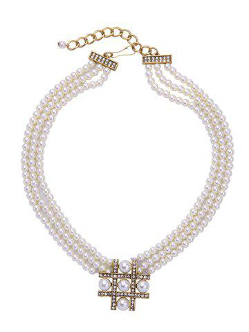 Fancy Multilayered Artificial Pearl Beaded Necklace