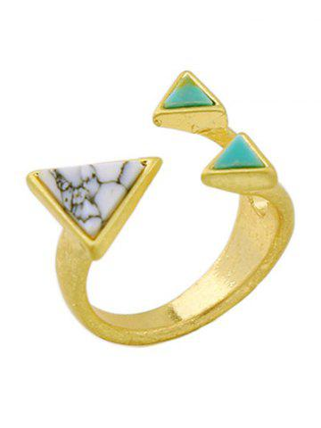 Hot Artificial Turquoise Triangle Cuff Ring GOLDEN ONE-SIZE