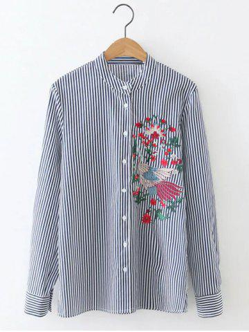 Long Sleeve Formal Striped Embroidered Shirt - Blue And White - S