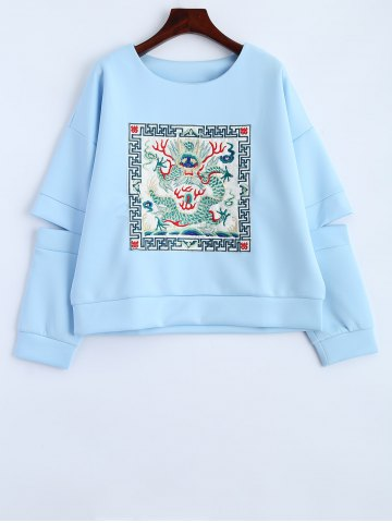 Brodé de Split Sleeve Sweatshirt Bleu clair M