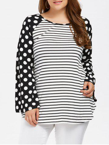 Trendy Polka Dot Trim Bell Sleeve Tee STRIPE XL