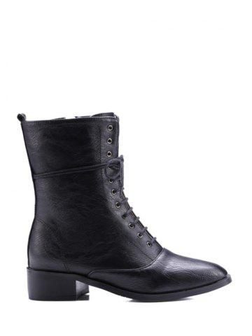 Trendy Square Toe Chunky Heel Zipper Short Boots