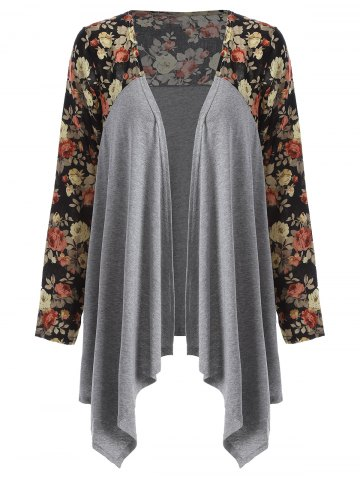 Floral Open Front Duster Coat - Gray - M