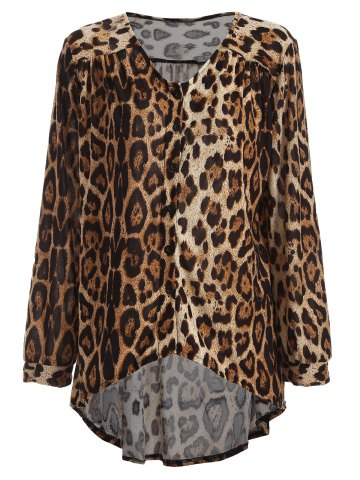 Latest High-Low Leopard Loose Blouse