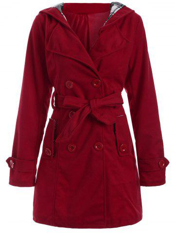 New Long Hooded Wool Trench Coat RED 3XL