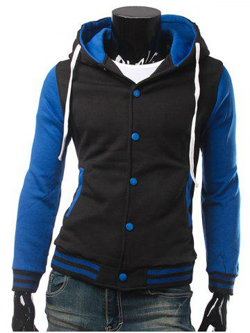 Stand Collar Color Block Panel Baseball Hoodie