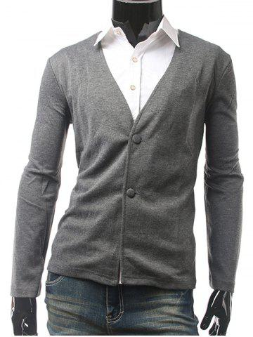 Slim Fit V Neck Button Cardigan