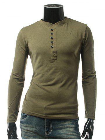Button Embellished Long Sleeve Plain T-Shirt