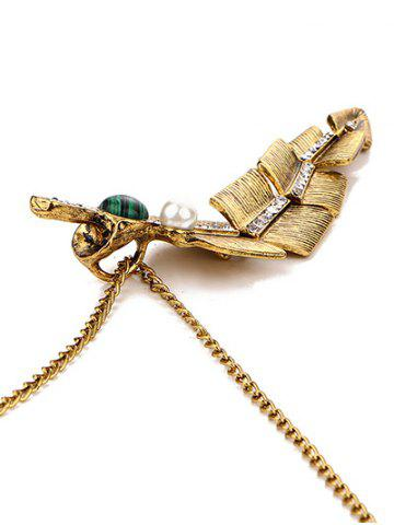Sale Artificial Pearl Feather Pendant Sweater Chain - GOLDEN  Mobile