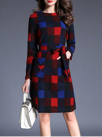 Double Pocket Plaid Pattern Belt Dress