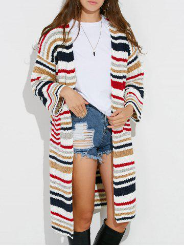 Shop Colorful Striped Chunky Cardigan WHITE ONE SIZE