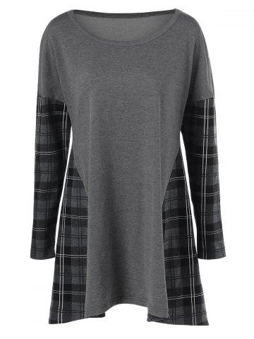 Drop Shoulder Plaid Trim Dress - Gray - Xl