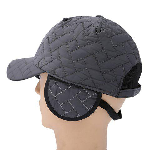 Outdoor Rhombus Warm Ear Warmer Adjustable Baseball Cap - Gray - One Size