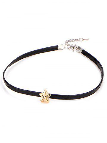 Engraved Love Star Choker Necklace - BLACK