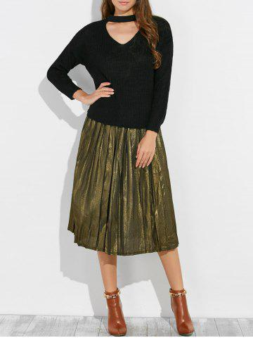 Outfit Pullover V Neck Choker Ribbed Sweatereater