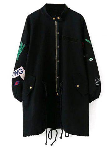 Affordable Stand Neck Patch Design Trench Coat